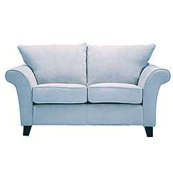 Provence Sky Blue Microfiber Flared Arm Loveseat - Thumbnail 0