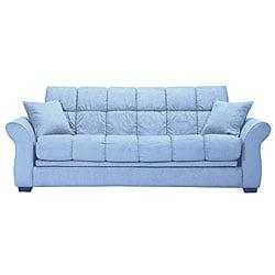 Shop Hollywood Jazz Sky Blue Microfiber Futon Sofa Bed