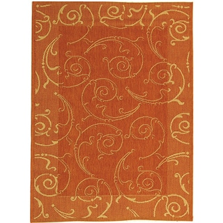 Safavieh Oasis Scrollwork Terracotta/ Natural Indoor/ Outdoor Rug (4' x 5'7)
