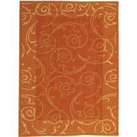 Safavieh Oasis Scrollwork Terracotta/ Natural Indoor/ Outdoor Rug - 4' x 5'7