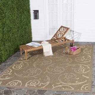 Safavieh Oasis Scrollwork Brown/ Natural Indoor/ Outdoor Rug (6'7 x 9'6)