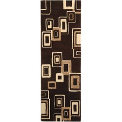 Safavieh Handmade Soho Gala Modern Abstract Brown/ Beige Wool Runner (2'6 x 8')
