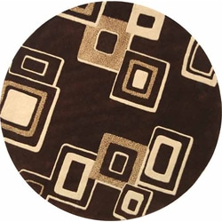 Safavieh Handmade Soho Gala Modern Abstract Brown/ Beige Wool Rug (6' Round)