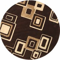 Safavieh Handmade Soho Gala Modern Abstract Brown/ Beige Wool Rug - 6' x 6' Round