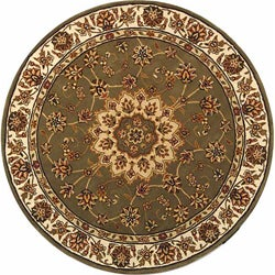 Safavieh Handmade Tabriz Green/ Ivory Wool and Silk Rug (8' Round)