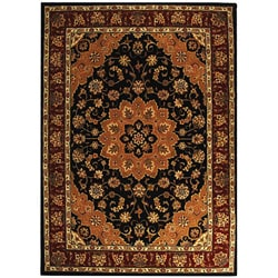 Safavieh Handmade Tabriz Black/ Burgundy Wool and Silk Rug - 6' x 9' - Thumbnail 0
