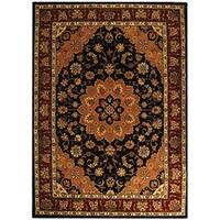 Safavieh Handmade Tabriz Black/ Burgundy Wool and Silk Rug - 6' x 9'