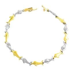 Fremada 14k Two-tone Gold School of Dolphin Bracelet