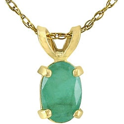 14k Yellow or White Gold Oval Emerald Necklace