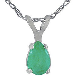 14k White Gold Pear-shaped Emerald Necklace