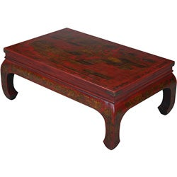 Hand-painted Oriental Coffee Table - Red