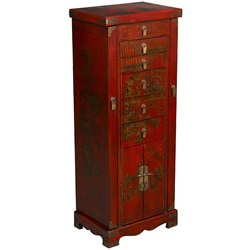 Hand-painted Oriental Jewelry Armoire - Red