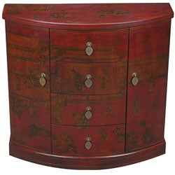 Hand-painted Oriental Storage Cabinet - Red