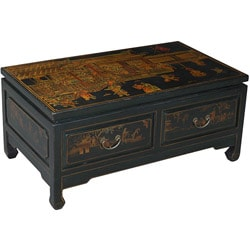 Hand-painted Oriental Coffee Table - Black