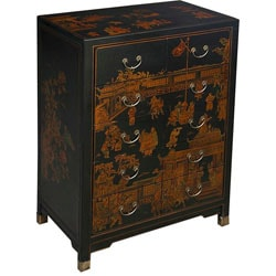 Hand-painted Oriental Dresser - Black
