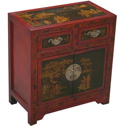 Hand-painted Oriental Cabinet - Red