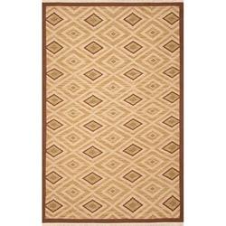 Thumbnail 1, Hand-woven Sand Wool Rug (8' x 10').