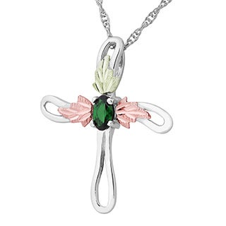 Black Hills Gold on Silver Cross Necklace with Emerald