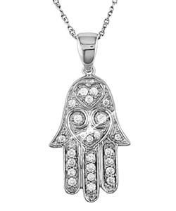 14k White Gold 1/5ct TDW Diamond Hamsa Necklace