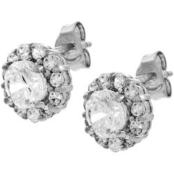 Thumbnail 1, Journee Collection Sterling Silver Round CZ Center Earrings.