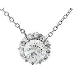 Thumbnail 1, Journee Collection Sterling Silver Round CZ Center Necklace.
