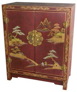 Handmade Red Lacquer Cabinet (China)