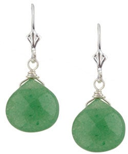 Lola's Jewelry Sterling Silver Green Aventurine Briolette Earrings