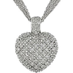 Sterling Silver 1ct TDW Diamond Heart Necklace (J-K, I3)