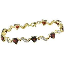 18k Goldplated Garnet and Diamond Bracelet