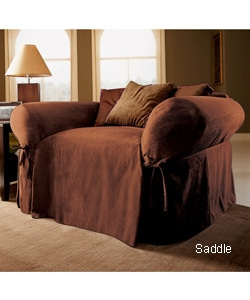 Classic Suede Oversized Chair Slipcover Free Shipping