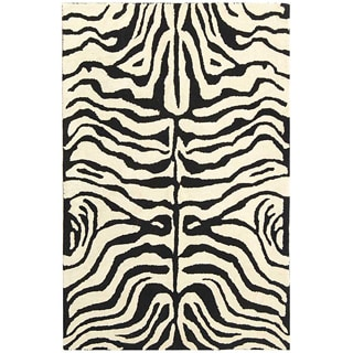 Safavieh Handmade Soho Zebra Ivory/ Black New Zealand Wool Rug (3'6 x 5'6)