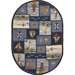 Safavieh Hand-hooked Nautical Blue Wool Rug (4'6 x 6'6 Oval)