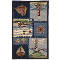 """Safavieh Hand-hooked Nautical Blue Wool Runner (2'6 x 4') - 2'-6"""" X 4'"""
