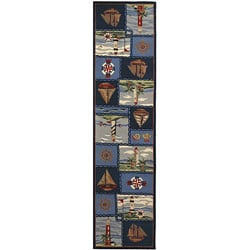 Safavieh Hand-hooked Nautical Blue Wool Runner (2'6 x 8')