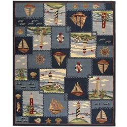 Safavieh Hand-hooked Nautical Blue Wool Rug (8'9 x 11') - Thumbnail 0