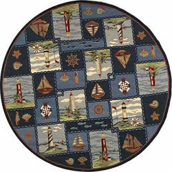 Safavieh Hand-hooked Nautical Blue Wool Rug (8' Round)