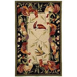 Safavieh Hand-hooked Rooster Garden Ivory/ Black Wool Rug - 2'9 x 4'9
