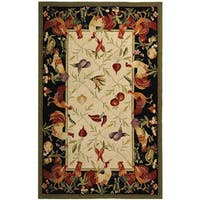 Safavieh Hand-hooked Rooster Garden Ivory/ Black Wool Rug - 5'3 x 8'3