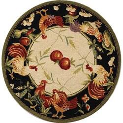 Safavieh Hand-hooked Rooster Garden Ivory/ Black Wool Rug (3' Round)