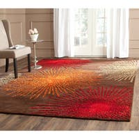 Safavieh Handmade Soho Burst Brown New Zealand Wool Rug - 7'6 x 9'6