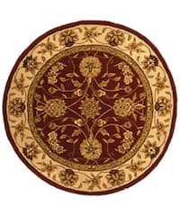 Safavieh Handmade Isfahan Burgundy/ Ivory Wool and Silk Rug - 6' x 6' Round