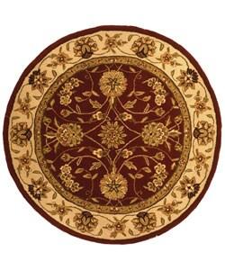 Safavieh Handmade Isfahan Burgundy/ Ivory Wool and Silk Rug (6' Round)