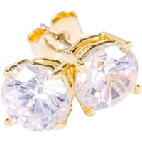 Simon Frank Designs 1.64ct. TDW  8mm Round White CZ Stud Gold Overlay Earrings.