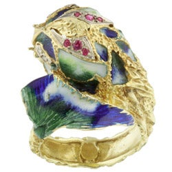 14k Yellow Gold and Enamel Sea Monster Ring