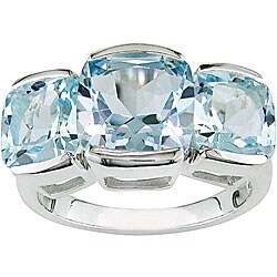 Sterling Silver Three-stone Blue Topaz Ring