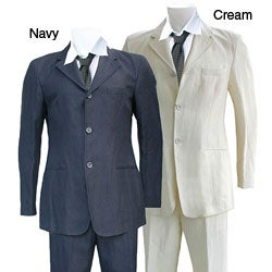 Armani Men's Three-button Hemp Suit. Opens flyout.