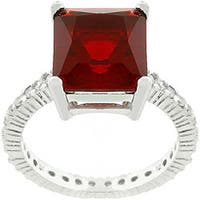 Sterling Silver Red CZ Ring
