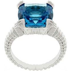 Silvertone Princess-cut Blue CZ Solitaire Ring