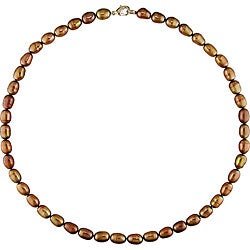 Pink Tone Brown Freshwater Pearl Necklace (7-7.5 mm)