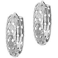 Mondevio Sterling Silver Diamond-cut Endless Hoop Earrings